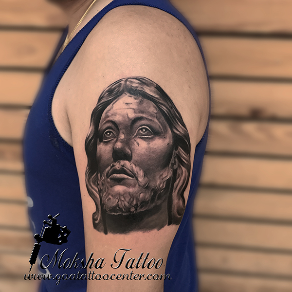jesus christ sculpture tattoo goa tattoo center. Black Bedroom Furniture Sets. Home Design Ideas