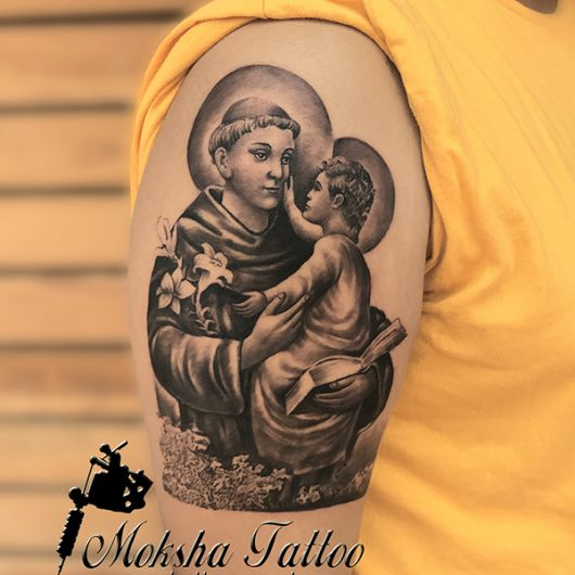 Saint Anthony of Padua Tattoo done by Mukesh Waghela at Moksha Tattoo Studio Goa India.