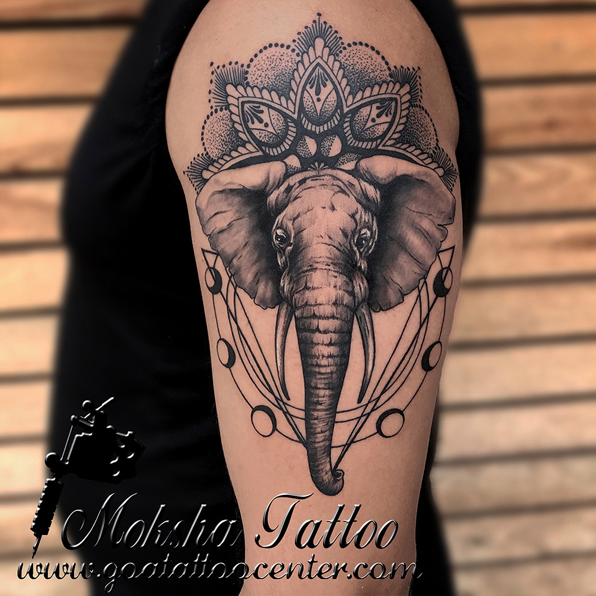 Best Tattoo Artists And Studio Of India With Safe Tattoo: Geometric Elephant Tattoo Done By Mukesh Waghela At Moksha
