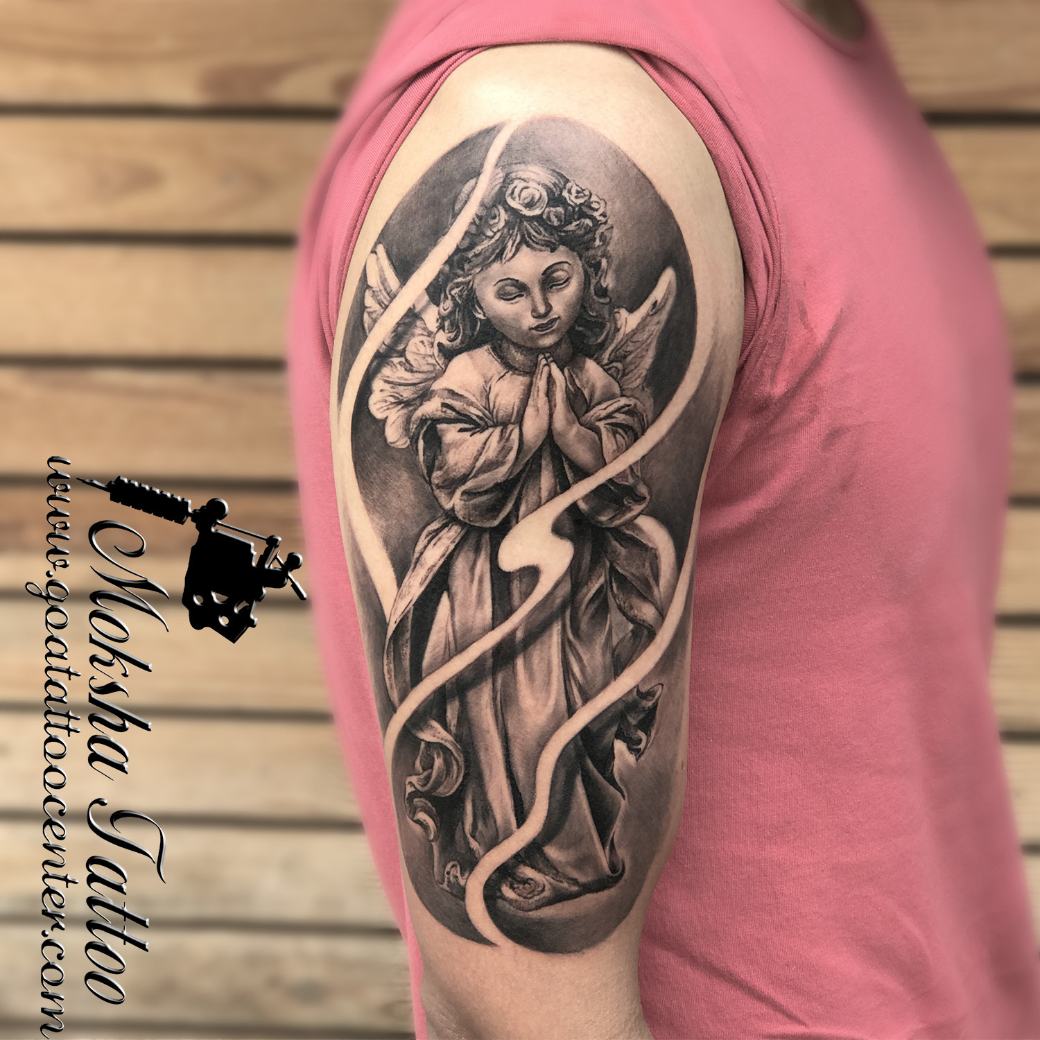 Baby Angel Tattoo done by Mukesh Waghela at Moksha Tattoo Studio Goa India.