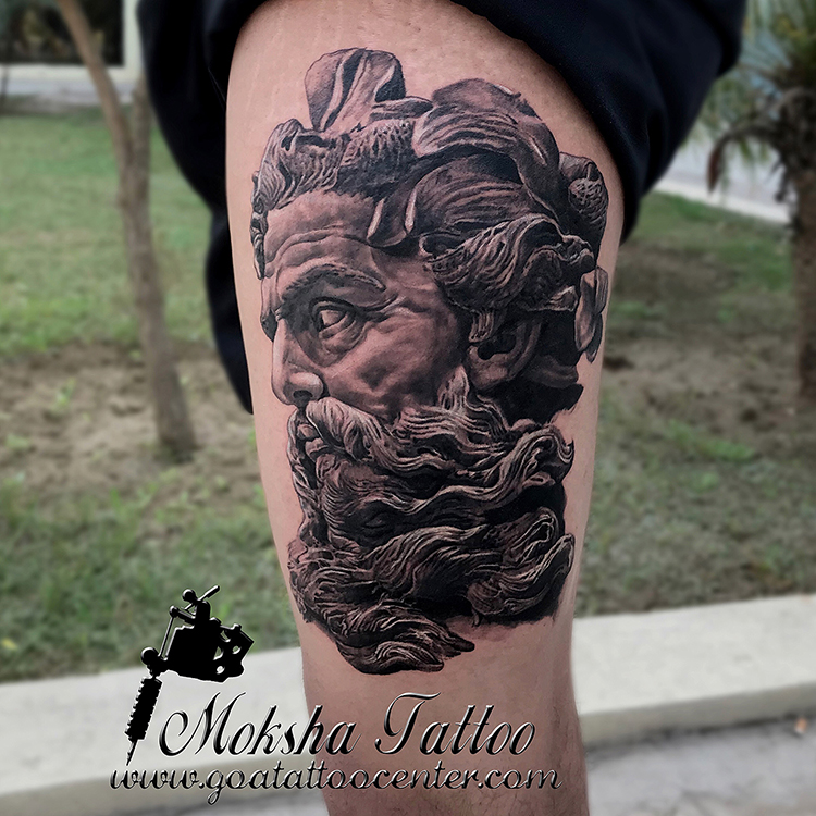 poseidon sculpture tattoo done by mukesh waghela at moksha tattoo studio goa india goa. Black Bedroom Furniture Sets. Home Design Ideas