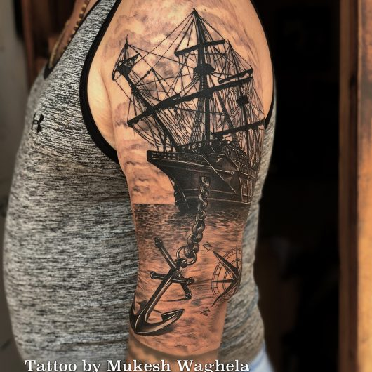 Travelling Tattoo - Done By Mukesh Waghela At Moksha Tattoo Studio Goa India