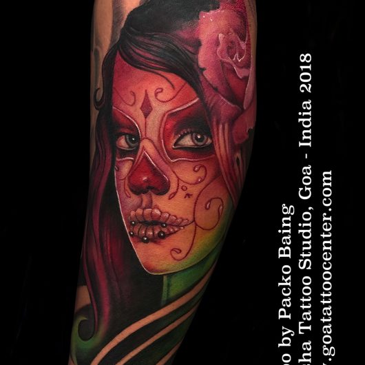 The Day Of The Dead Tattoo done by Packo Baing At Moksha Tattoo Studio Goa India