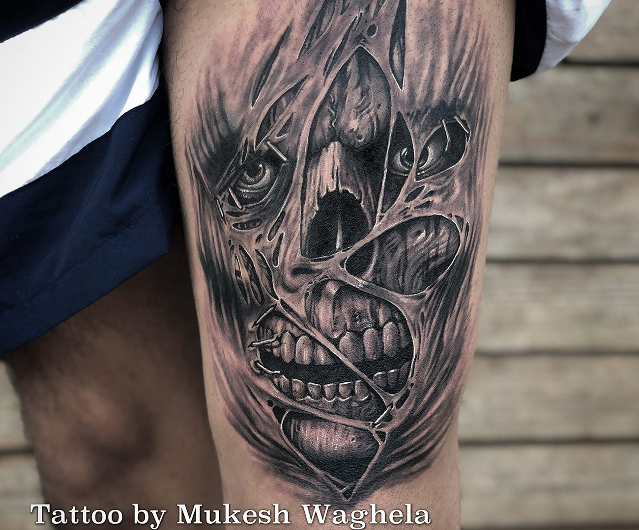 Evil skull tattoo done by Mukesh Waghela at Moksha Tattoo Studio Goa India