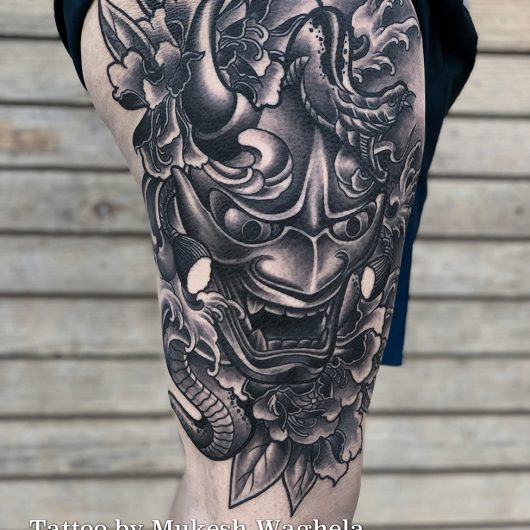 Hannya Mask tattoo done by Mukesh Waghela at Moksha Tattoo Studio Goa India
