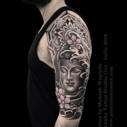 Buddha tattoo done by Mukesh Waghela at Moksha Tattoo Studio Goa India