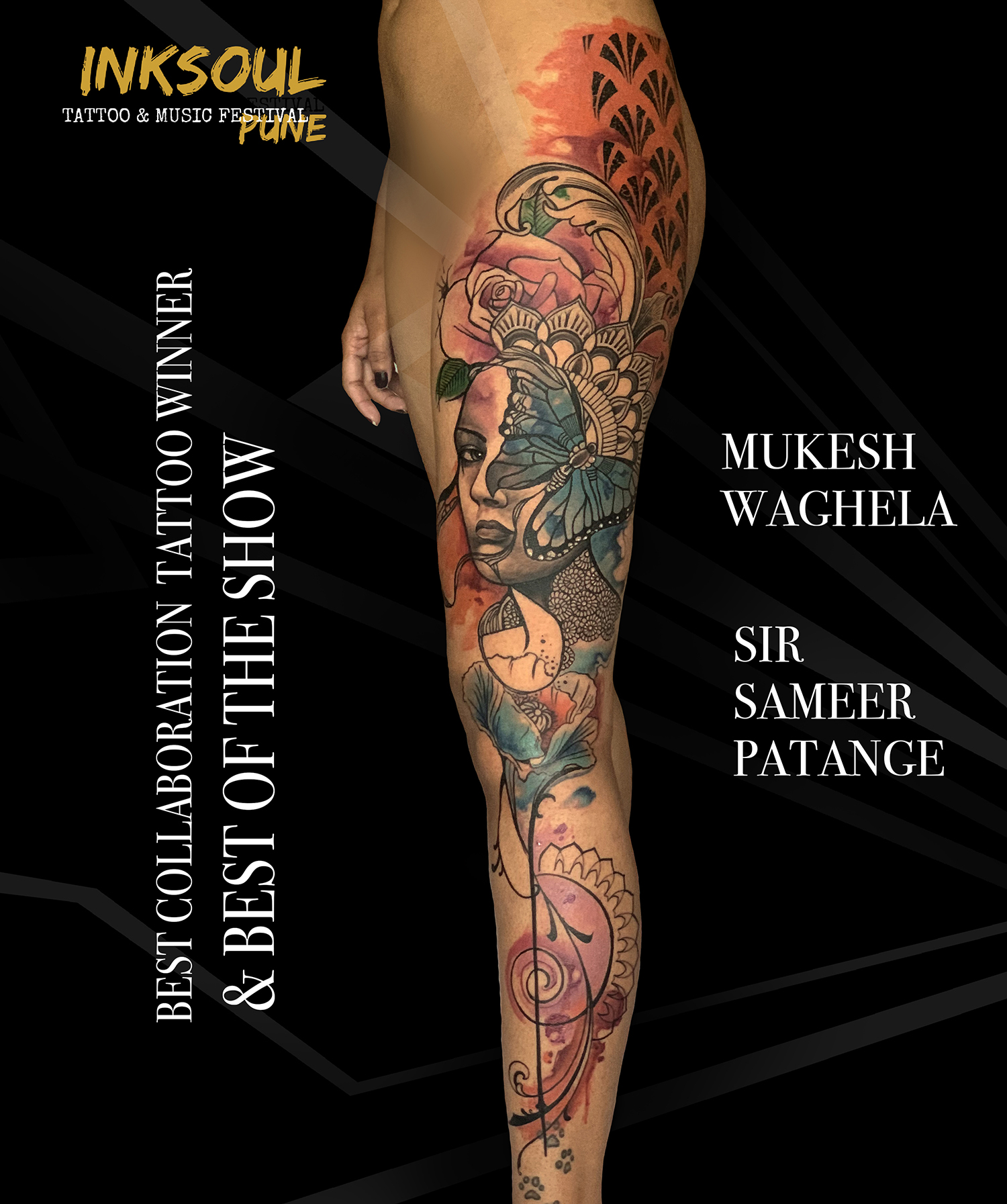 Collaboration Tattoo done by mukesh waghela & sameer patange at inksoul tattoo festival pune India
