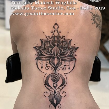 Lotus tattoo done by Mukesh Waghela at Moksha Tattoo Studio Goa India